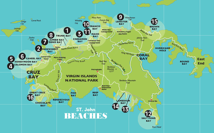 Beach Map St. John USVI