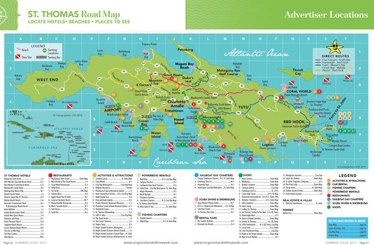 St. Thomas Island Road Map - Virgin Islands This Week